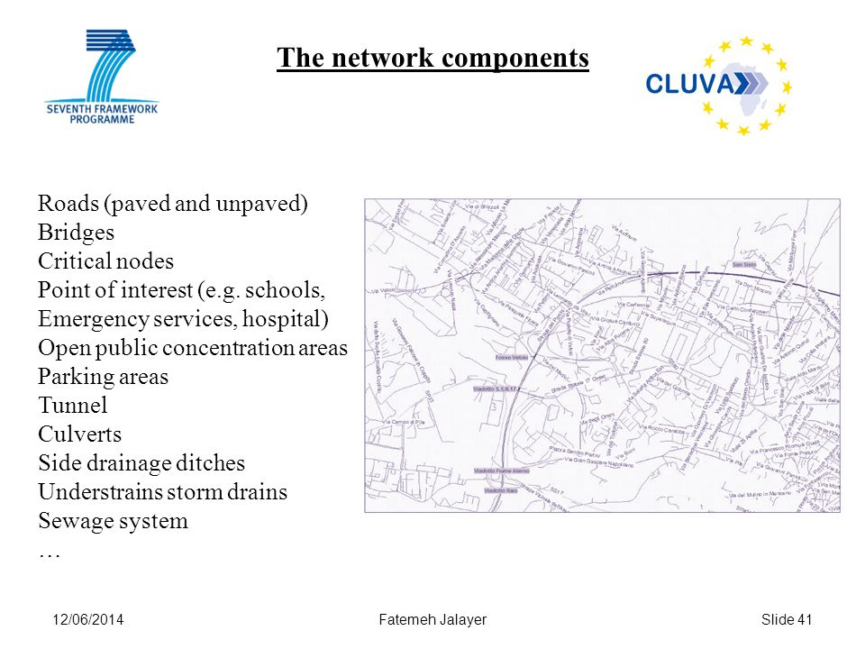 12/06/2014Fatemeh JalayerSlide 41 The network components Roads (paved and unpaved) Bridges Critical nodes Point of interest (e.g. schools, Emergency s