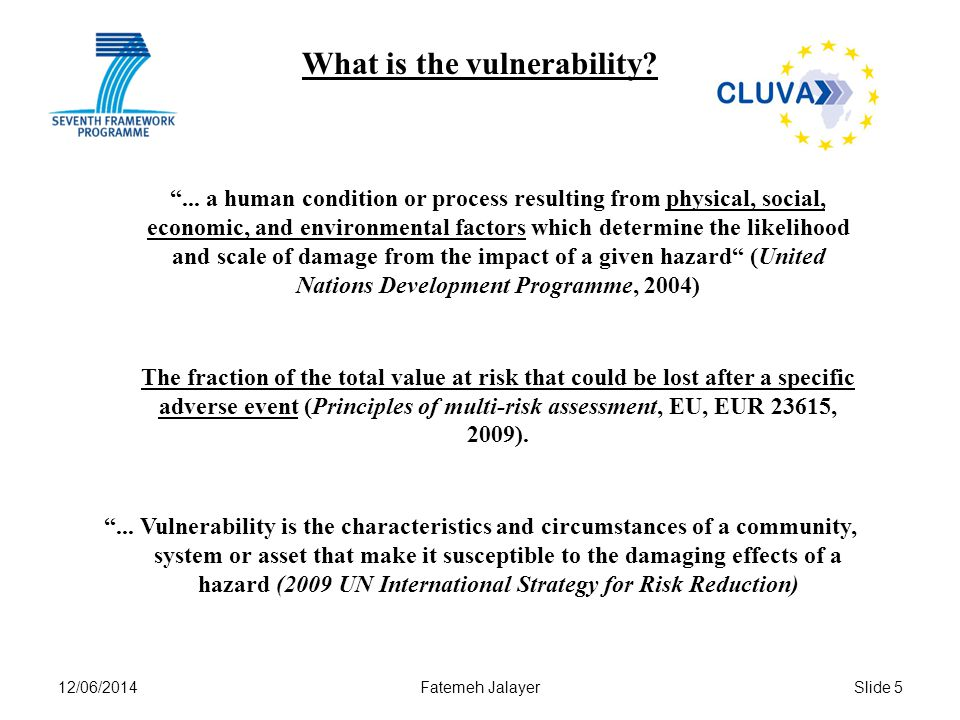 12/06/2014Fatemeh JalayerSlide 5 What is the vulnerability ...