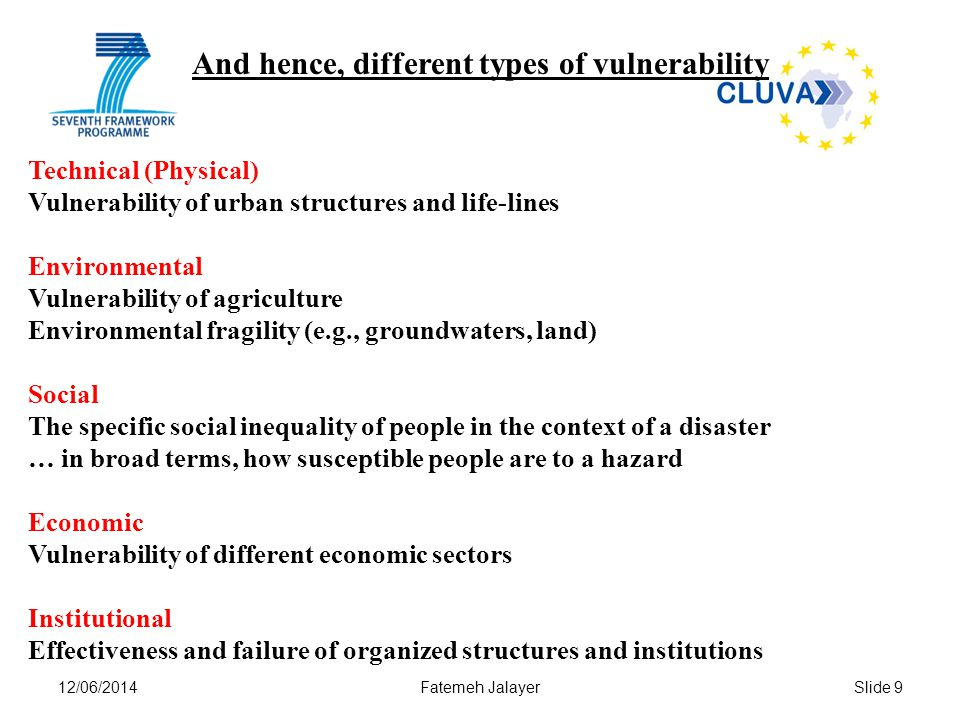 12/06/2014Fatemeh JalayerSlide 9 Technical (Physical) Vulnerability of urban structures and life-lines Environmental Vulnerability of agriculture Envi