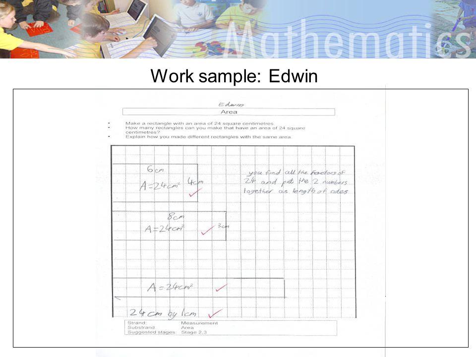 Work sample: Edwin