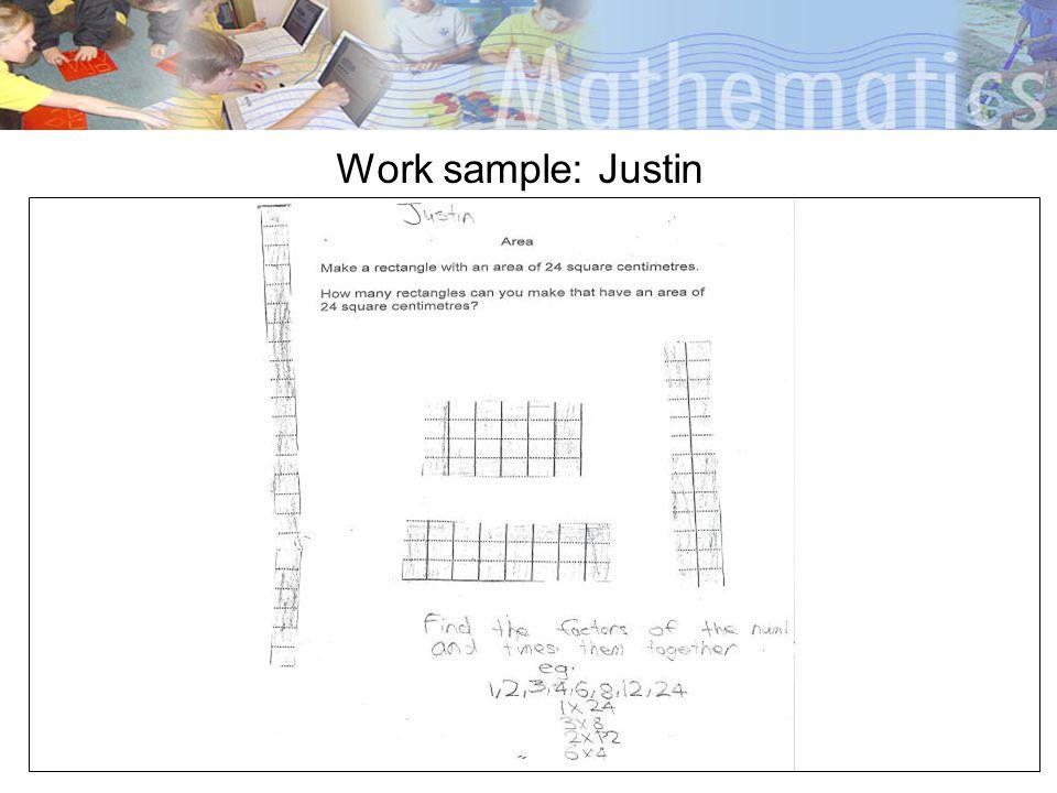 Work sample: Justin