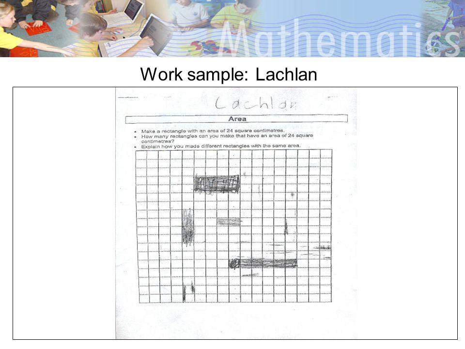 Work sample: Lachlan