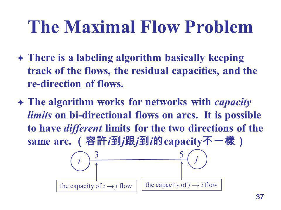 37 The Maximal Flow Problem There is a labeling algorithm basically keeping track of the flows, the residual capacities, and the re-direction of flows