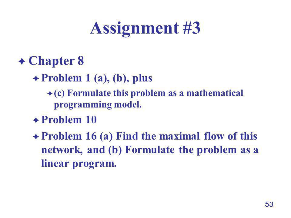 53 Assignment #3 Chapter 8 Problem 1 (a), (b), plus (c) Formulate this problem as a mathematical programming model. Problem 10 Problem 16 (a) Find the