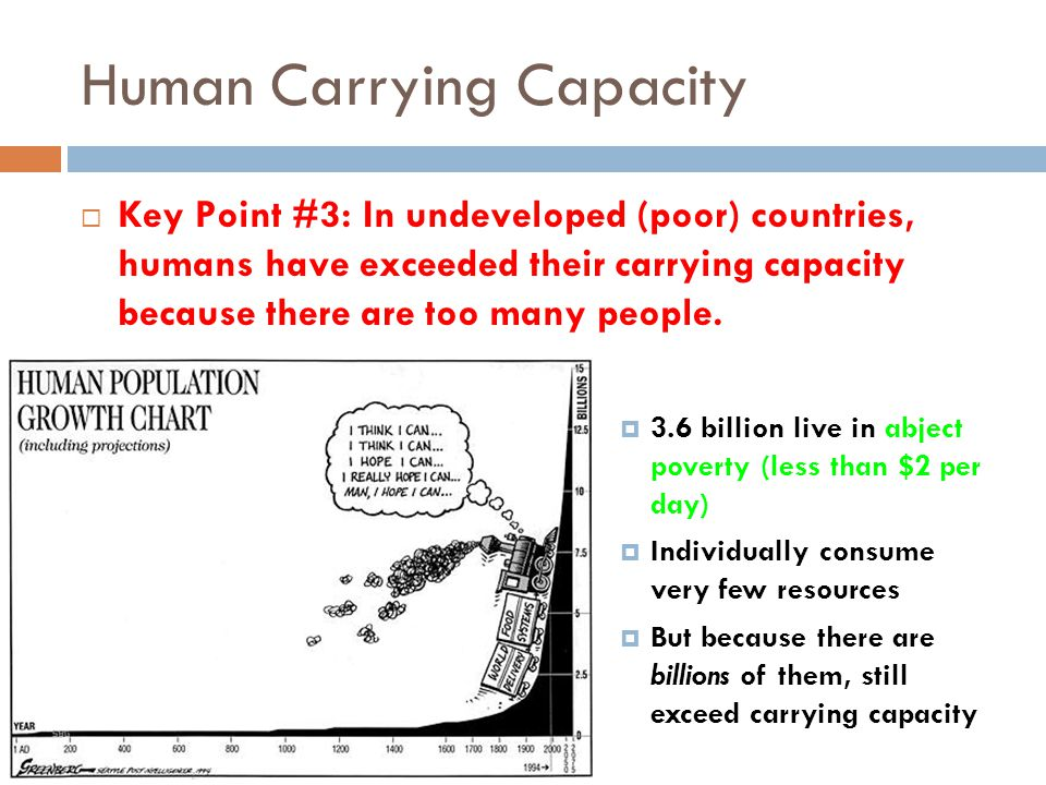 Human Carrying Capacity Key Point #3: In undeveloped (poor) countries, humans have exceeded their carrying capacity because there are too many people.