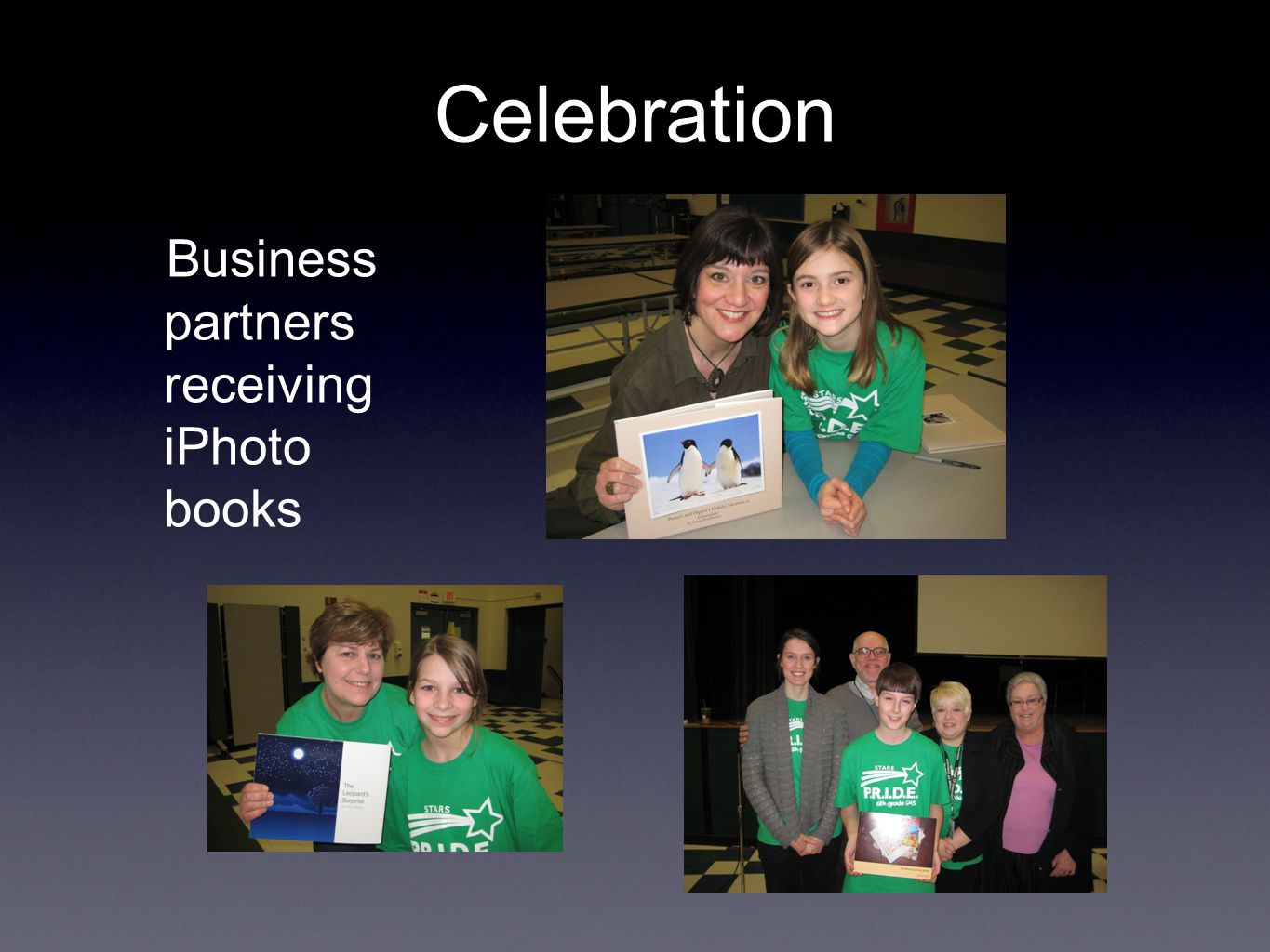 Business partners receiving iPhoto books Celebration