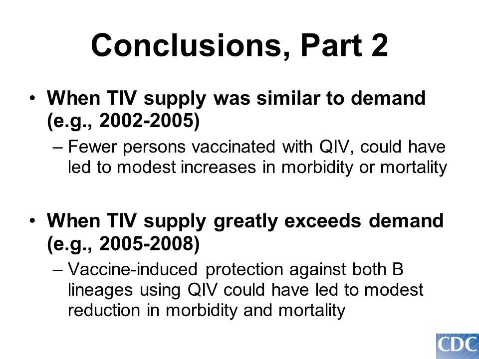Conclusions, Part 2 When TIV supply was similar to demand (e.g., 2002-2005) –Fewer persons vaccinated with QIV, could have led to modest increases in morbidity or mortality When TIV supply greatly exceeds demand (e.g., 2005-2008) –Vaccine-induced protection against both B lineages using QIV could have led to modest reduction in morbidity and mortality