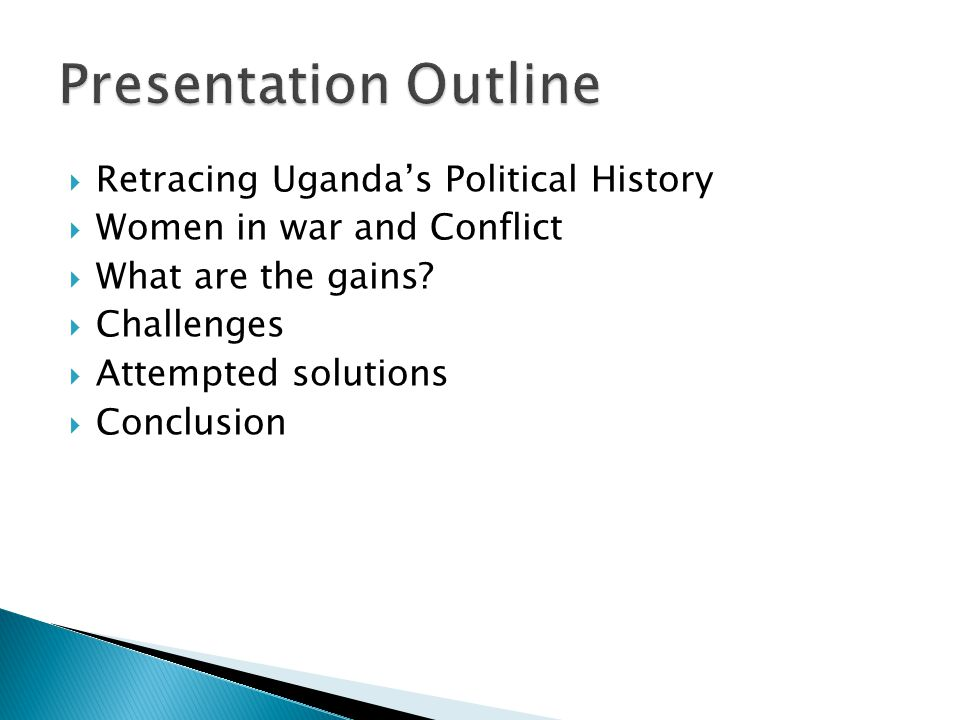 Uganda becomes independent (1962) Characterised by turbulent and tragic history- Idi Amin, Obote I & II Restoration of Peace – NRA/NRM takes over government in 1986 Some stability – mainly central and south western Rebel Insurgencies ADF in the Western Region (1990s) UPDA North Eastern Uganda (mid 1980s) Holy Spirit Movement by Alice Lakwena – NE Uganda (late 1980s) LRA in Northern Uganda – Since 1987 to date