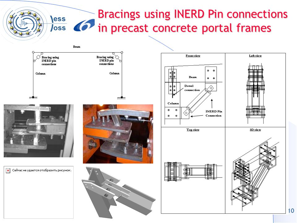 10 Bracings using INERD Pin connections in precast concrete portal frames