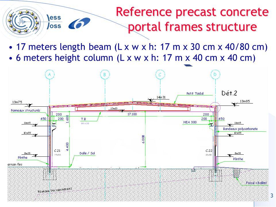 3 Reference precast concrete portal frames structure 17 meters length beam (L x w x h: 17 m x 30 cm x 40/80 cm) 6 meters height column (L x w x h: 17 m x 40 cm x 40 cm)