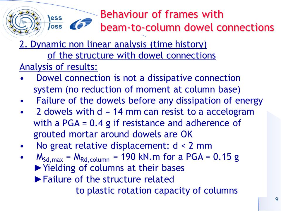 9 2. Dynamic non linear analysis (time history) of the structure with dowel connections Analysis of results: Dowel connection is not a dissipative con