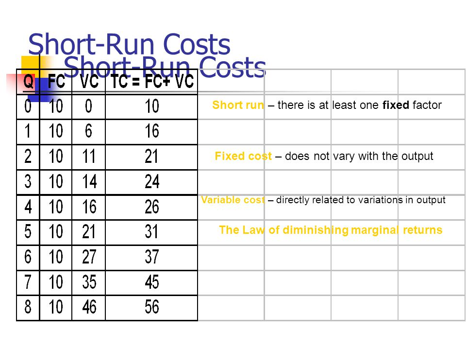 Short-Run Costs Short run – there is at least one fixed factor Fixed cost – does not vary with the output Variable cost – directly related to variations in output The Law of diminishing marginal returns