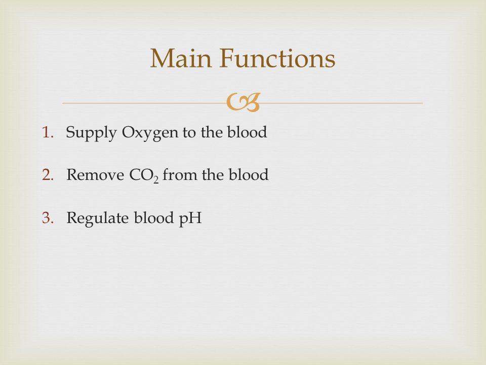 1.Supply Oxygen to the blood 2.Remove CO 2 from the blood 3.Regulate blood pH Main Functions