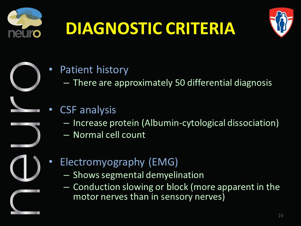 DIAGNOSTIC CRITERIA Patient history – There are approximately 50 differential diagnosis CSF analysis – Increase protein (Albumin-cytological dissociat