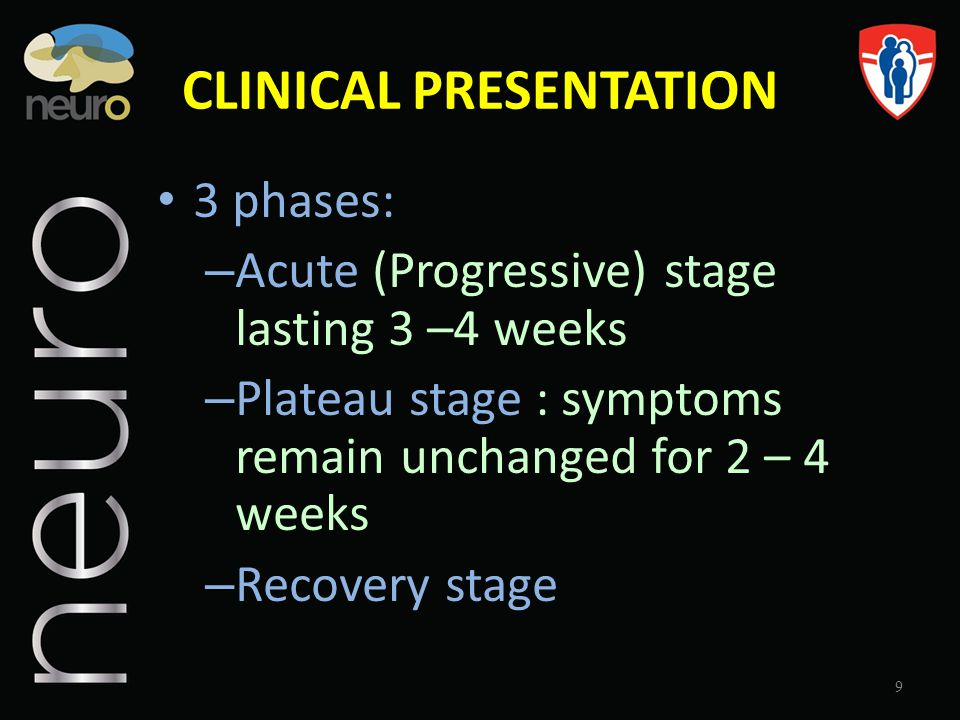CLINICAL PRESENTATION 3 phases: – Acute (Progressive) stage lasting 3 –4 weeks – Plateau stage : symptoms remain unchanged for 2 – 4 weeks – Recovery