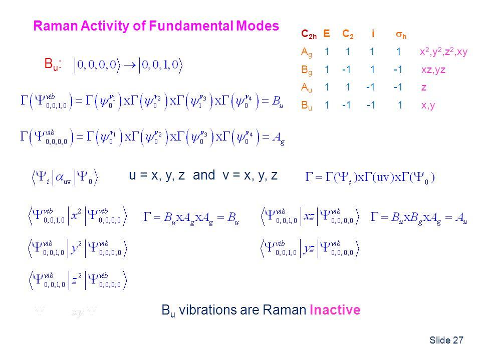 Slide 27 C 2h E C 2 i h A g 1 1 1 1 x 2,y 2,z 2,xy B g 1 -1 1 -1 xz,yz A u 1 1 -1 -1 z B u 1 -1 -1 1 x,y Raman Activity of Fundamental Modes B u vibra