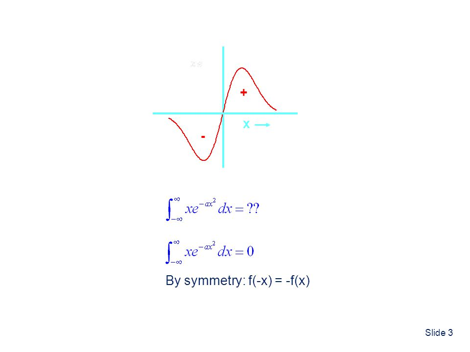 Slide 3 Symmetry and Vibrational Selection Rules x + - By symmetry: f(-x) = -f(x)