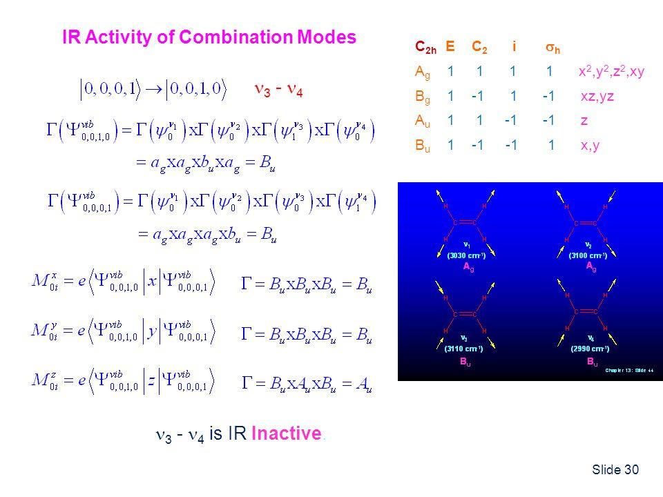 Slide 30 C 2h E C 2 i h A g 1 1 1 1 x 2,y 2,z 2,xy B g 1 -1 1 -1 xz,yz A u 1 1 -1 -1 z B u 1 -1 -1 1 x,y IR Activity of Combination Modes 3 - 4 is IR