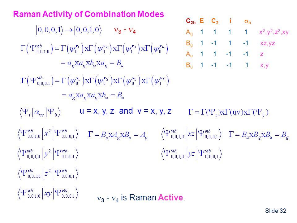 Slide 32 C 2h E C 2 i h A g 1 1 1 1 x 2,y 2,z 2,xy B g 1 -1 1 -1 xz,yz A u 1 1 -1 -1 z B u 1 -1 -1 1 x,y Raman Activity of Combination Modes u = x, y,
