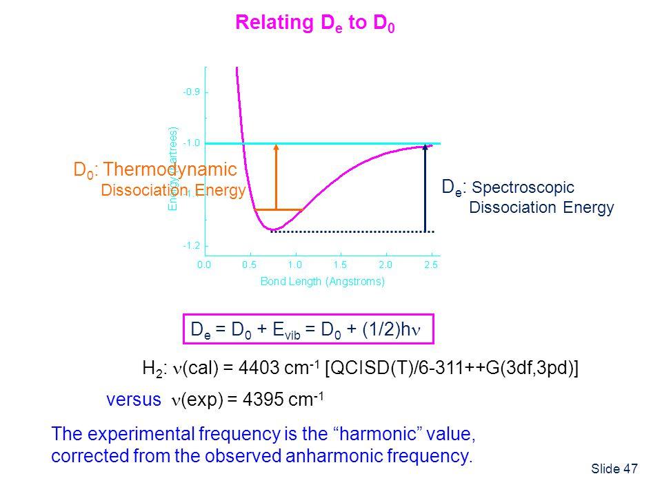 Slide 47 D e = D 0 + E vib = D 0 + (1/2)h Relating D e to D 0 D e : Spectroscopic Dissociation Energy D 0 : Thermodynamic Dissociation Energy versus (