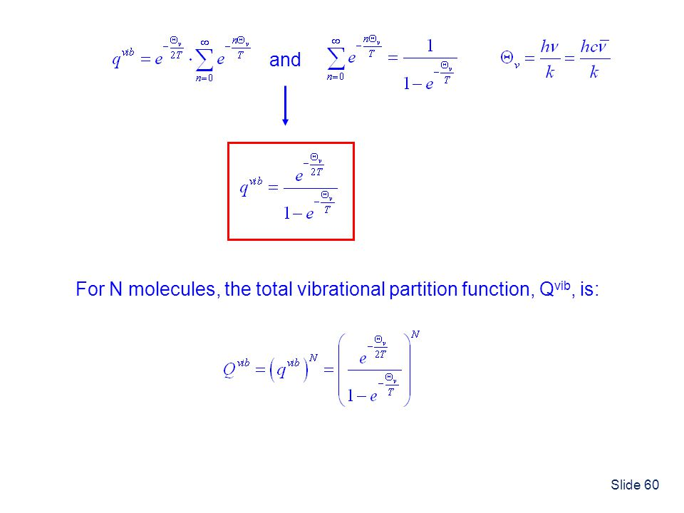 Slide 60 and For N molecules, the total vibrational partition function, Q vib, is: