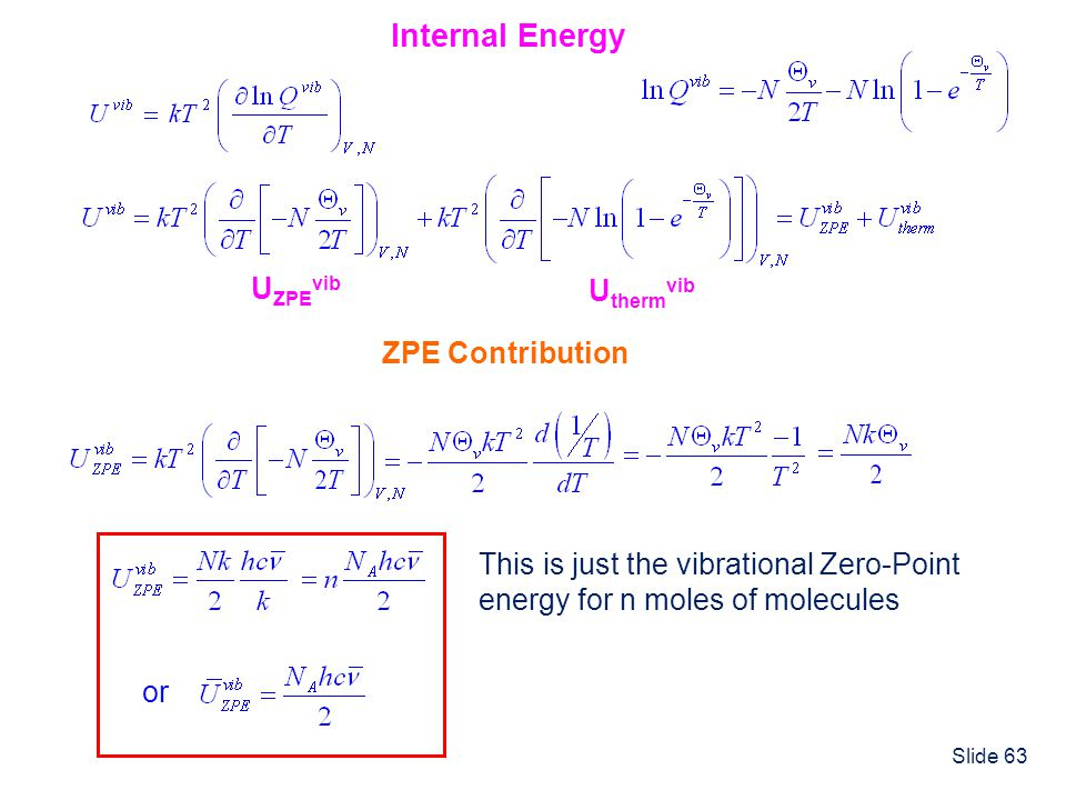 Slide 63 Internal Energy U ZPE vib U therm vib ZPE Contribution This is just the vibrational Zero-Point energy for n moles of molecules or