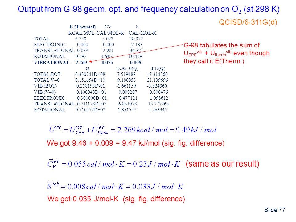 Slide 77 E (Thermal) CV S KCAL/MOL CAL/MOL-K CAL/MOL-K TOTAL 3.750 5.023 48.972 ELECTRONIC 0.000 0.000 2.183 TRANSLATIONAL 0.889 2.981 36.321 ROTATION