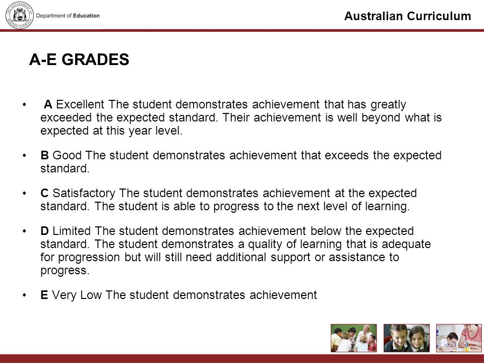 Australian Curriculum MODERATION ACTIVITY Process Groups of 3 in year groups Describe the context of the task and share 3 work samples Discuss any rubrics or marking key developed Identify key features of below, at and above achievement standard Annotate samples Consensus of group Feedback for student – identify teaching points