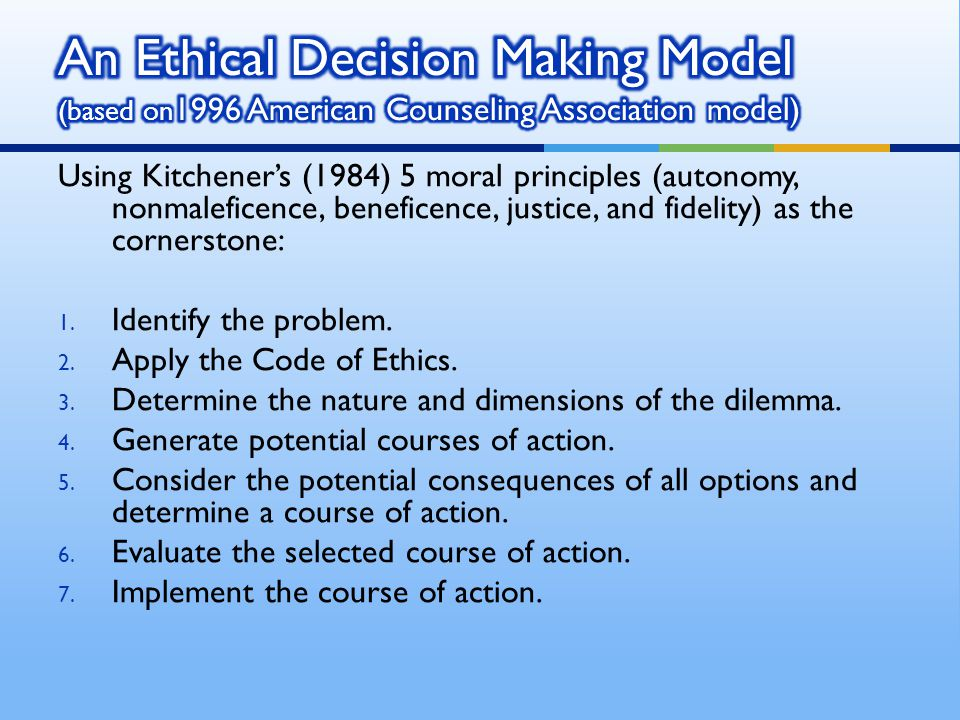 Using Kitcheners (1984) 5 moral principles (autonomy, nonmaleficence, beneficence, justice, and fidelity) as the cornerstone: 1. Identify the problem.