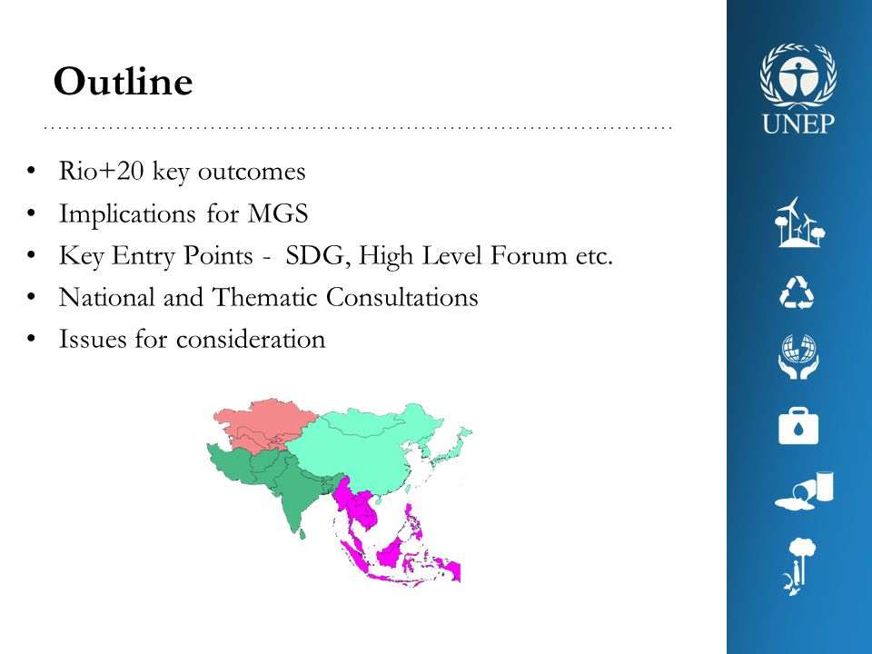 Outline Rio+20 key outcomes Implications for MGS Key Entry Points - SDG, High Level Forum etc.