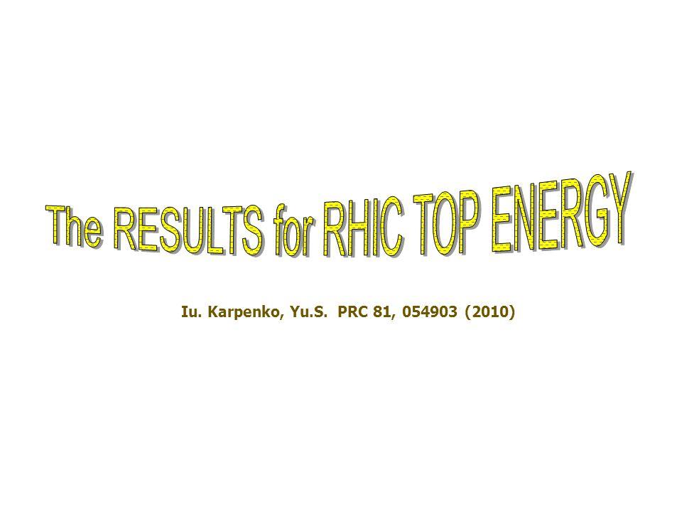 Iu. Karpenko, Yu.S. PRC 81, 054903 (2010)