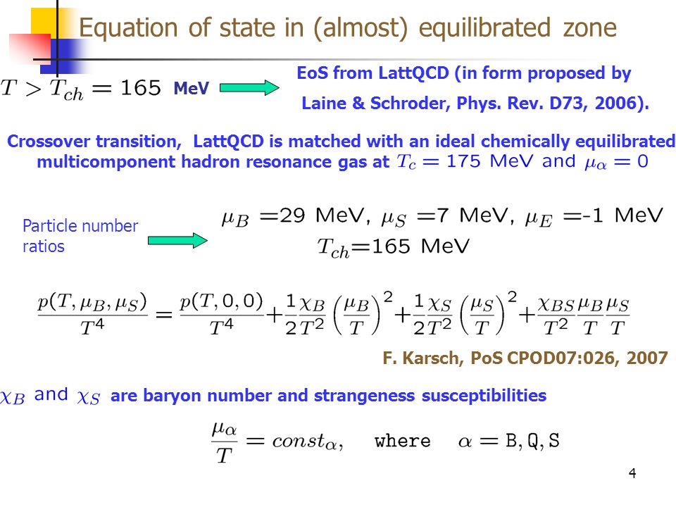 Equation of state in (almost) equilibrated zone 4 EoS from LattQCD (in form proposed by Laine & Schroder, Phys.
