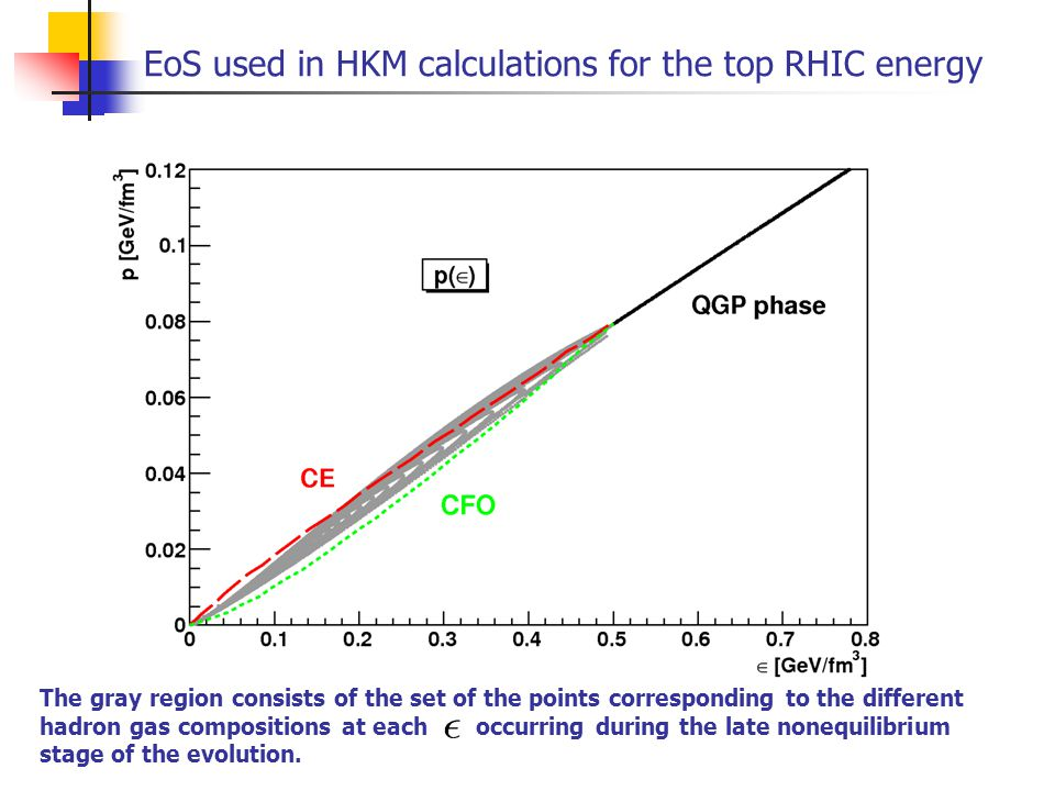 EoS used in HKM calculations for the top RHIC energy The gray region consists of the set of the points corresponding to the different hadron gas compo