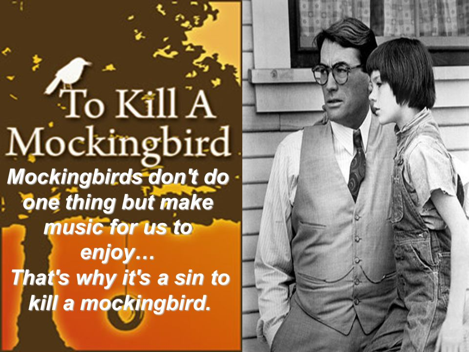 Mockingbirds don t do one thing but make music for us to enjoy… That s why it s a sin to kill a mockingbird.