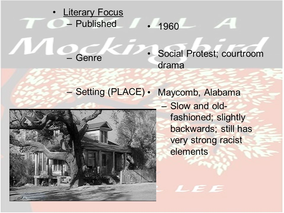 Literary Focus –Published –Genre –Setting (PLACE) 1960 Social Protest; courtroom drama Maycomb, Alabama –Slow and old- fashioned; slightly backwards; still has very strong racist elements