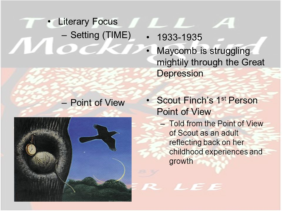 Overview Scout Finch is the narrator of the story and opens the novel as an adult woman reflecting back on key events in her childhood.
