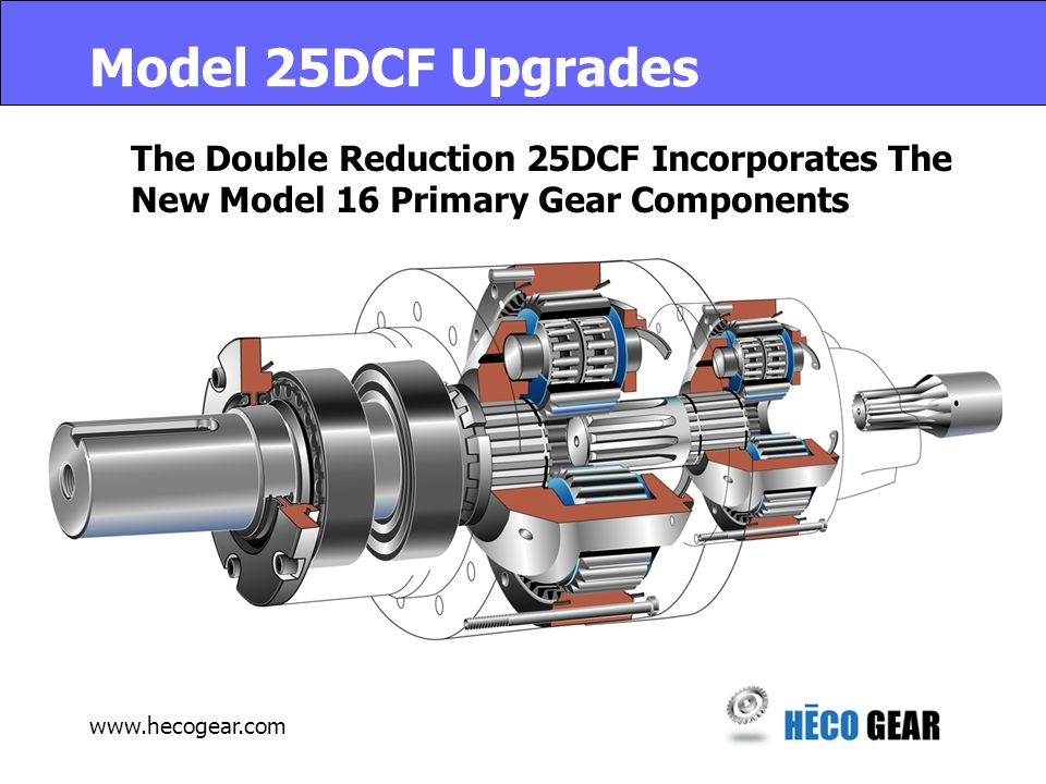 www.hecogear.com Model 25DCF Upgrades The Double Reduction 25DCF Incorporates The New Model 16 Primary Gear Components