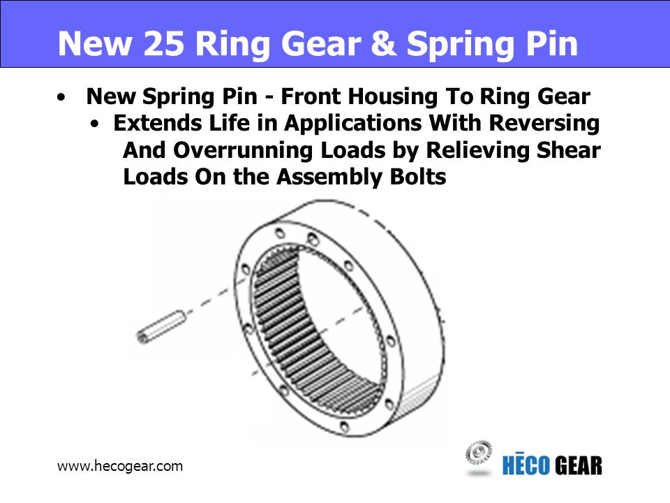 www.hecogear.com Superior Features Ductile Iron Housings – Lighter Weight O-Ring Seals - No liquid Gasket Preloaded Timken Bearings Higher Capacity & Longer Life Pinned Housings – Eliminates Sheared Bolts