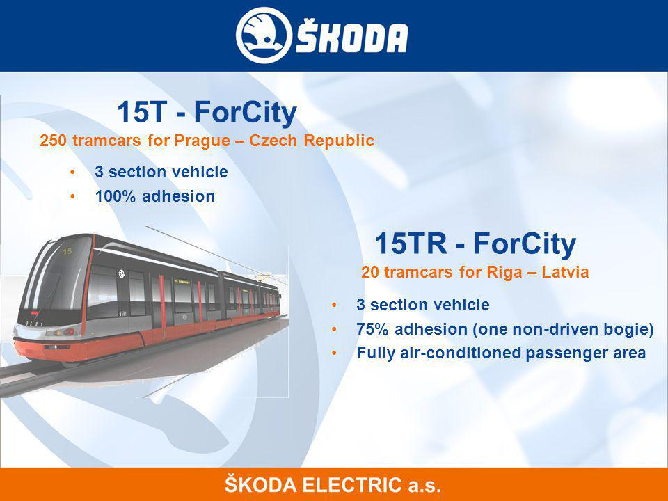 15T - ForCity Components by Skoda Electric 16xSynchronous traction motor with permanent magnets 4x Traction unit for traction motor supply 1x Static converter for auxiliary drives and battery charger 1x24 volt battery