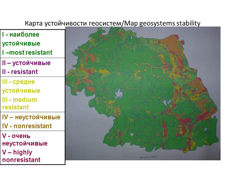 Карта устойчивости геосистем/Map geosystems stability I - наиболее устойчивые I –most resistant II – устойчивые II - resistant III - средне устойчивые III - medium resistant IV – неустойчивые IV - nonresistant V - очень неустойчивые V – highly nonresistant