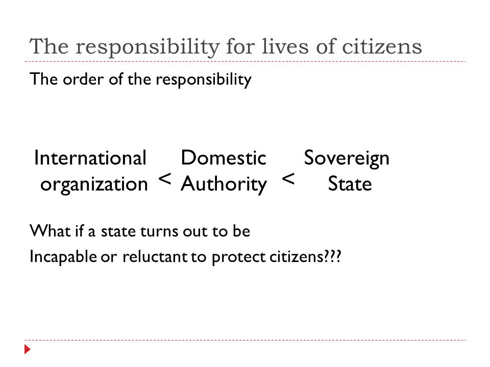 The responsibility for lives of citizens The order of the responsibility What if a state turns out to be Incapable or reluctant to protect citizens??.