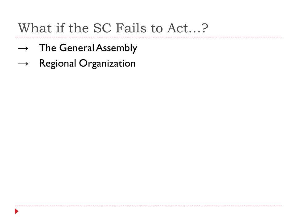 What if the SC Fails to Act…? The General Assembly Regional Organization