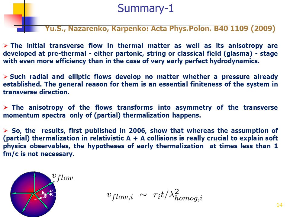 Summary-1 Yu.S., Nazarenko, Karpenko: Acta Phys.Polon. B40 1109 (2009) 14 The initial transverse flow in thermal matter as well as its anisotropy are