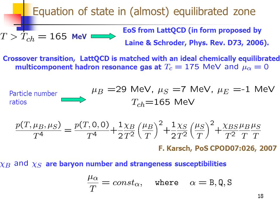 Equation of state in (almost) equilibrated zone 18 EoS from LattQCD (in form proposed by Laine & Schroder, Phys. Rev. D73, 2006). MeV Crossover transi