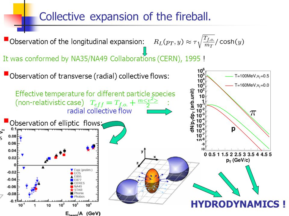 Collective expansion of the fireball.