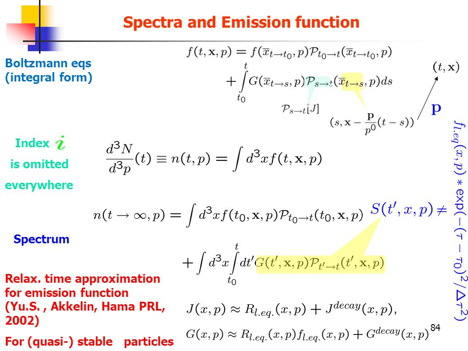 84 Boltzmann eqs (integral form) Spectra and Emission function Index is omitted everywhere Spectrum Relax. time approximation for emission function (Y
