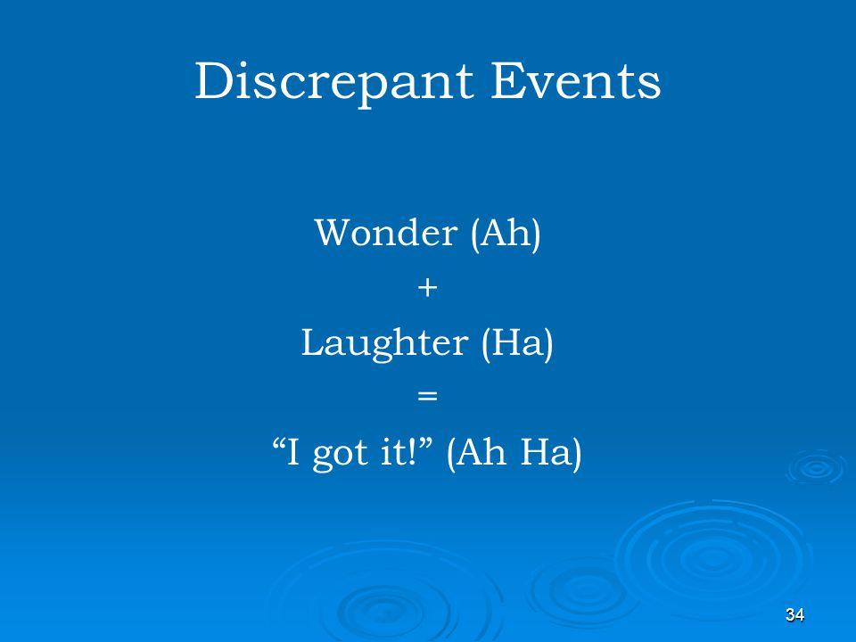 34 Discrepant Events Wonder (Ah) + Laughter (Ha) = I got it! (Ah Ha)