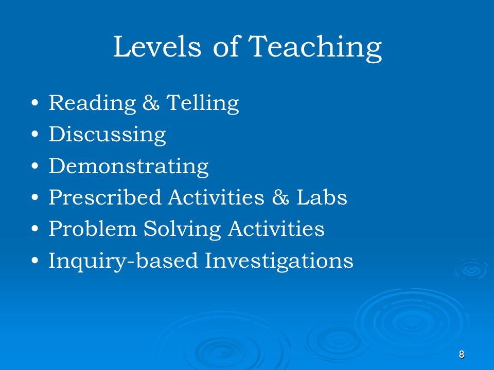 8 Levels of Teaching Reading & Telling Discussing Demonstrating Prescribed Activities & Labs Problem Solving Activities Inquiry-based Investigations