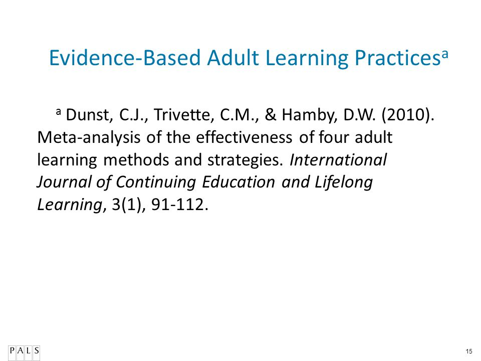 15 Evidence-Based Adult Learning Practices a a Dunst, C.J., Trivette, C.M., & Hamby, D.W. (2010). Meta-analysis of the effectiveness of four adult lea
