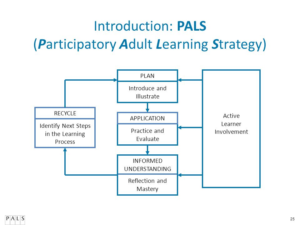 25 Introduction: PALS (Participatory Adult Learning Strategy) PLAN APPLICATION RECYCLE Active Learner Involvement Reflection and Mastery Practice and